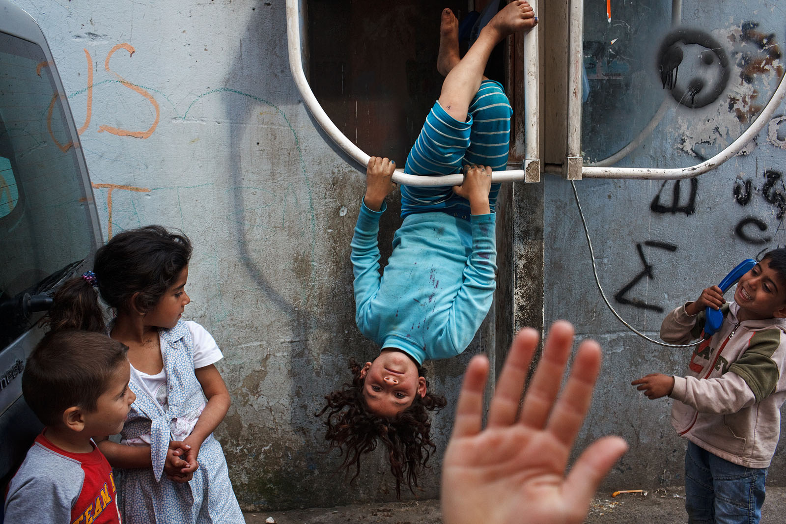 Children play in Unkapani area in Istanbul, Turkey.